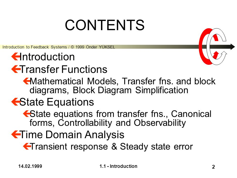 Introduction to Feedback Systems / © 1999 Önder YÜKSEL