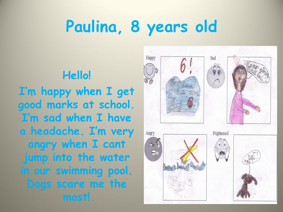 Sylwia, 9 years old Hello everyone.I'm happy when I get good marks at English classes.