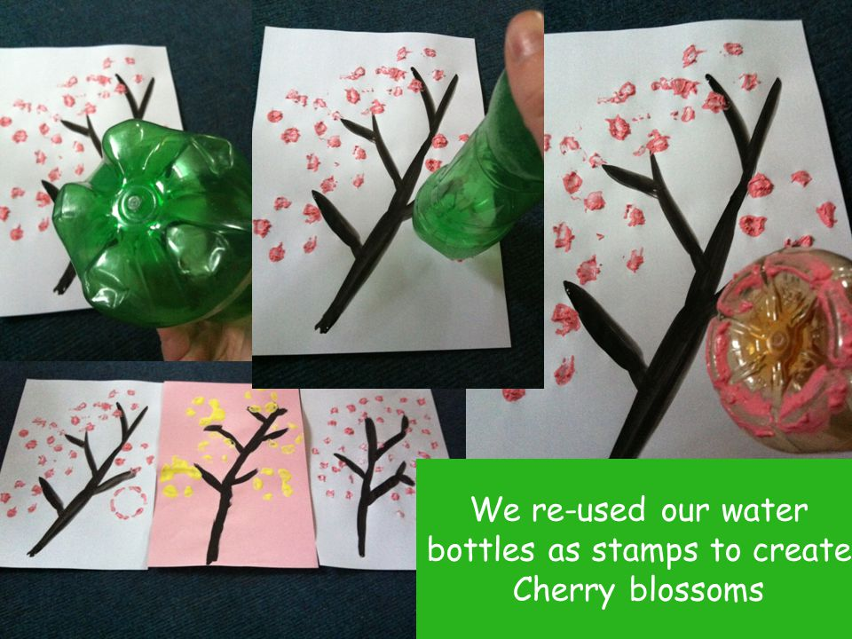 We re-used our water bottles as stamps to create Cherry blossoms