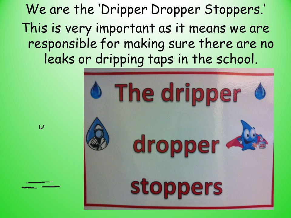 We are the 'Dripper Dropper Stoppers.' This is very important as it means we are responsible for making sure there are no leaks or dripping taps in th