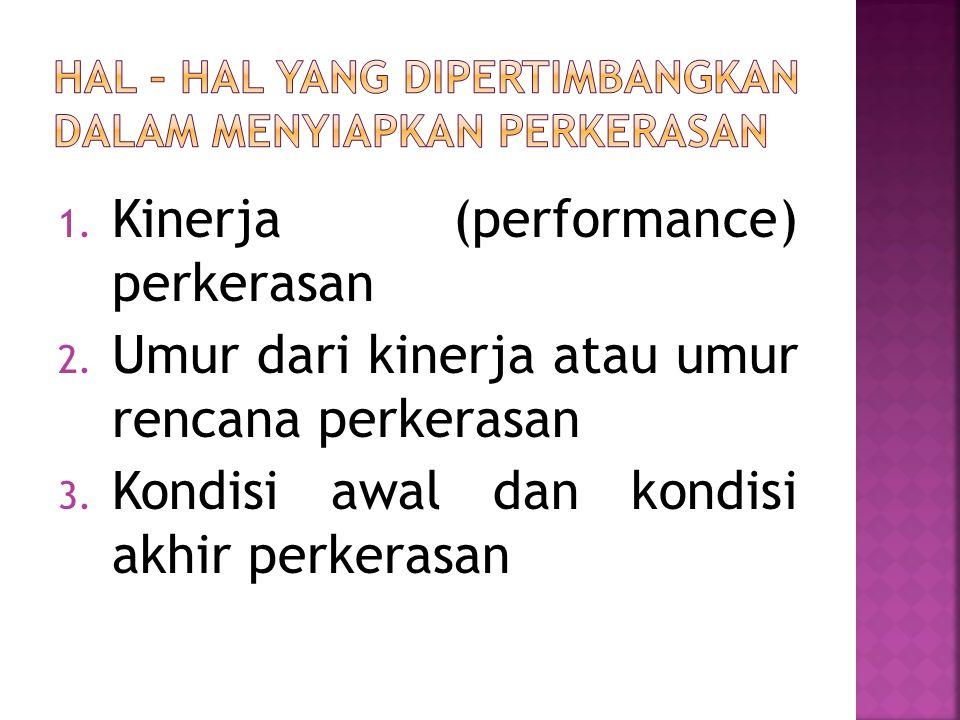 1. Kinerja (performance) perkerasan 2. Umur dari kinerja atau umur rencana perkerasan 3.