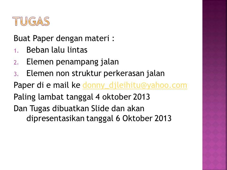 Buat Paper dengan materi : 1. Beban lalu lintas 2.
