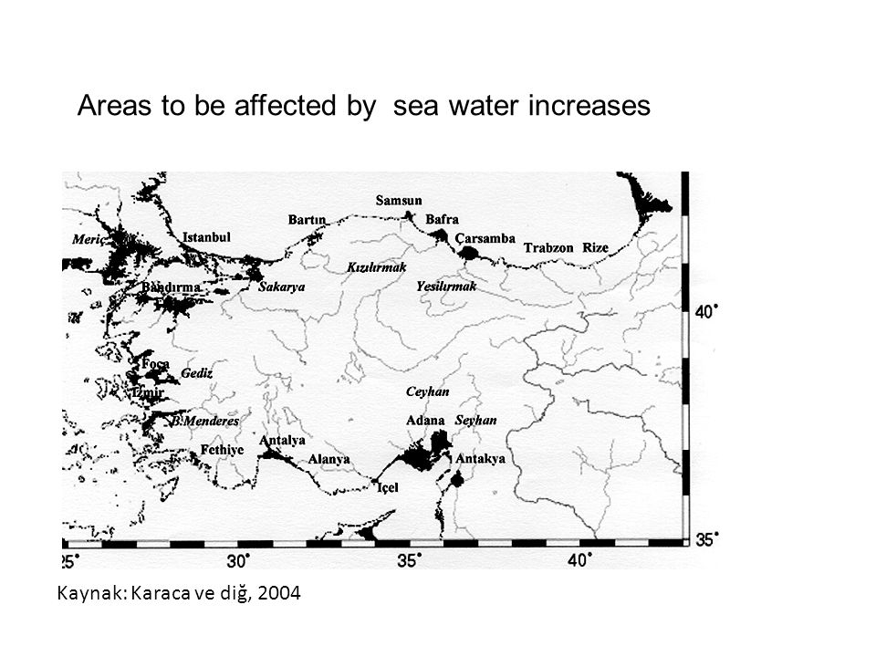 Areas to be affected by sea water increases Kaynak: Karaca ve diğ, 2004
