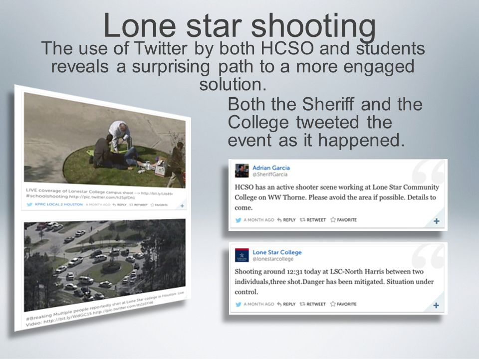 Lone star shooting The use of Twitter by both HCSO and students reveals a surprising path to a more engaged solution.