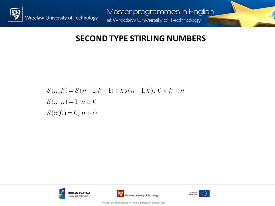 SECOND TYPE STIRLING NUMBERS