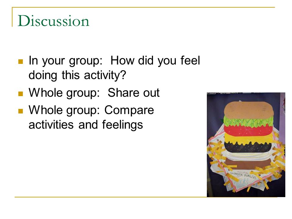 Discussion In your group: How did you feel doing this activity.