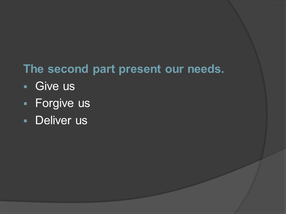The second part present our needs.  Give us  Forgive us  Deliver us