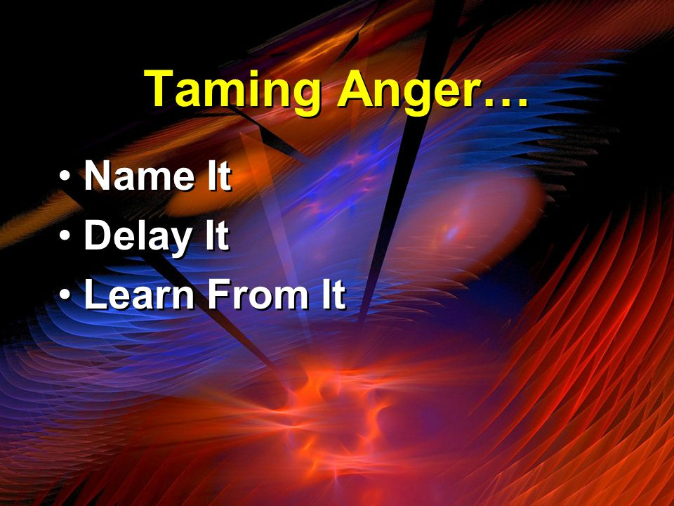 Taming Anger… Name It Delay It Learn From It Name It Delay It Learn From It