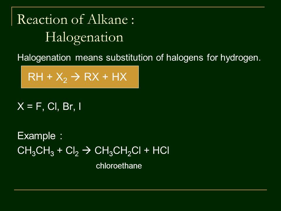 Reaction of Alkane : Halogenation Halogenation means substitution of halogens for hydrogen.