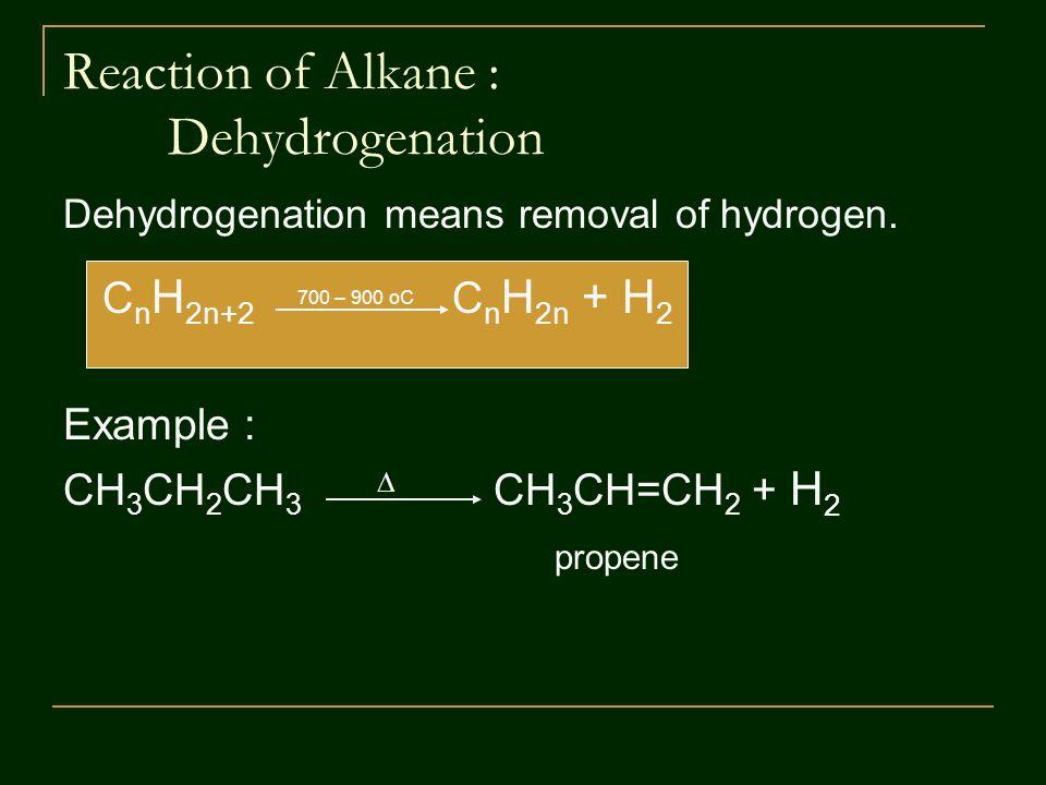 Reaction of Alkane : Dehydrogenation Dehydrogenation means removal of hydrogen.