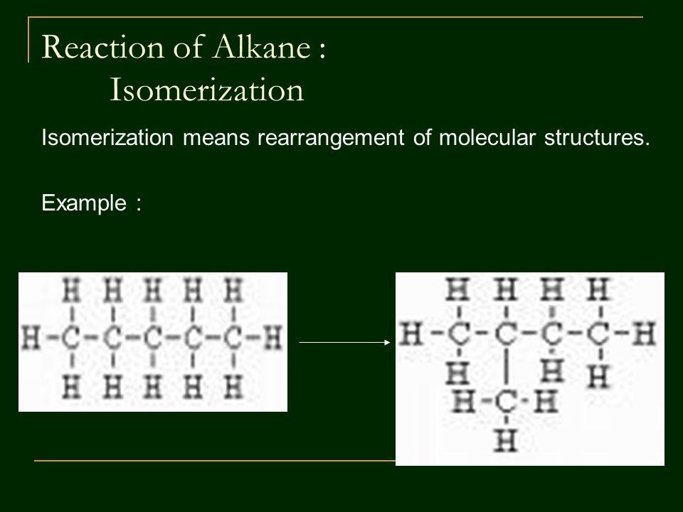 Reaction of Alkane : Isomerization Isomerization means rearrangement of molecular structures.