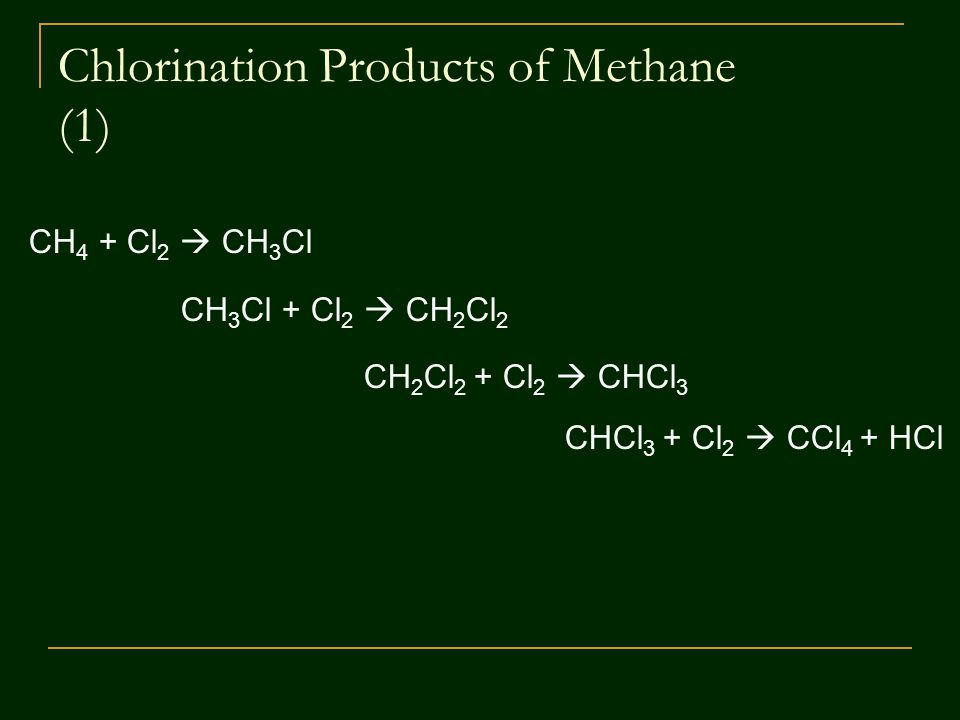 Chlorination Products of Methane (1) CH 4 + Cl 2  CH 3 Cl CH 3 Cl + Cl 2  CH 2 Cl 2 CH 2 Cl 2 + Cl 2  CHCl 3 CHCl 3 + Cl 2  CCl 4 + HCl