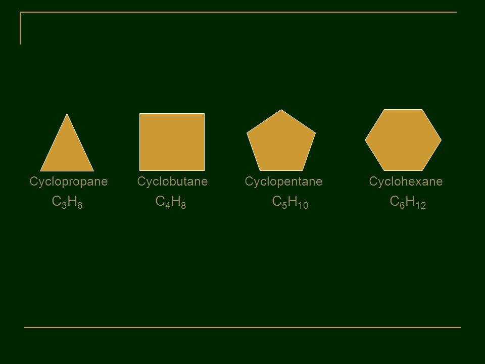 Cyclopropane Cyclobutane CyclopentaneCyclohexane C 3 H 6 C 4 H 8 C 5 H 10 C 6 H 12