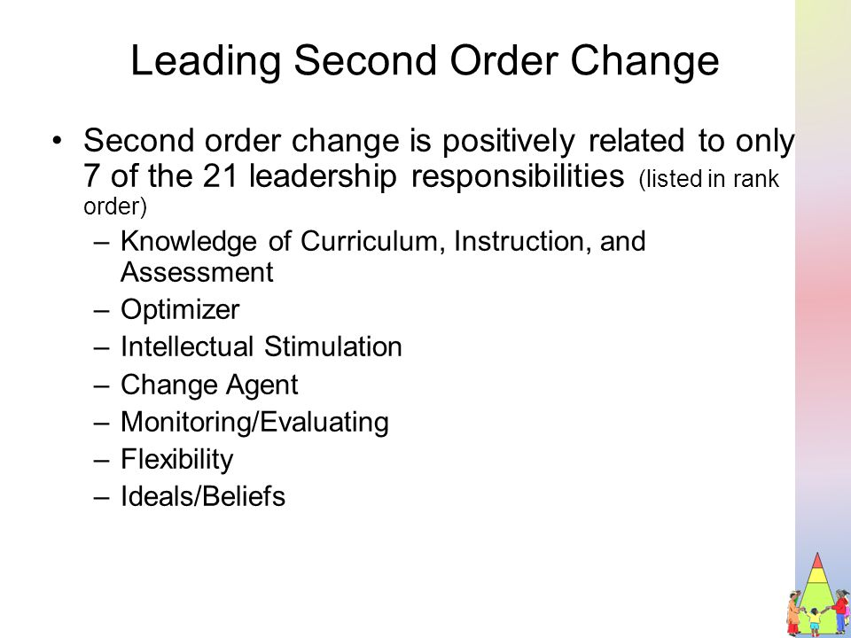 Leading Second Order Change Second order change is positively related to only 7 of the 21 leadership responsibilities (listed in rank order) –Knowledge of Curriculum, Instruction, and Assessment –Optimizer –Intellectual Stimulation –Change Agent –Monitoring/Evaluating –Flexibility –Ideals/Beliefs