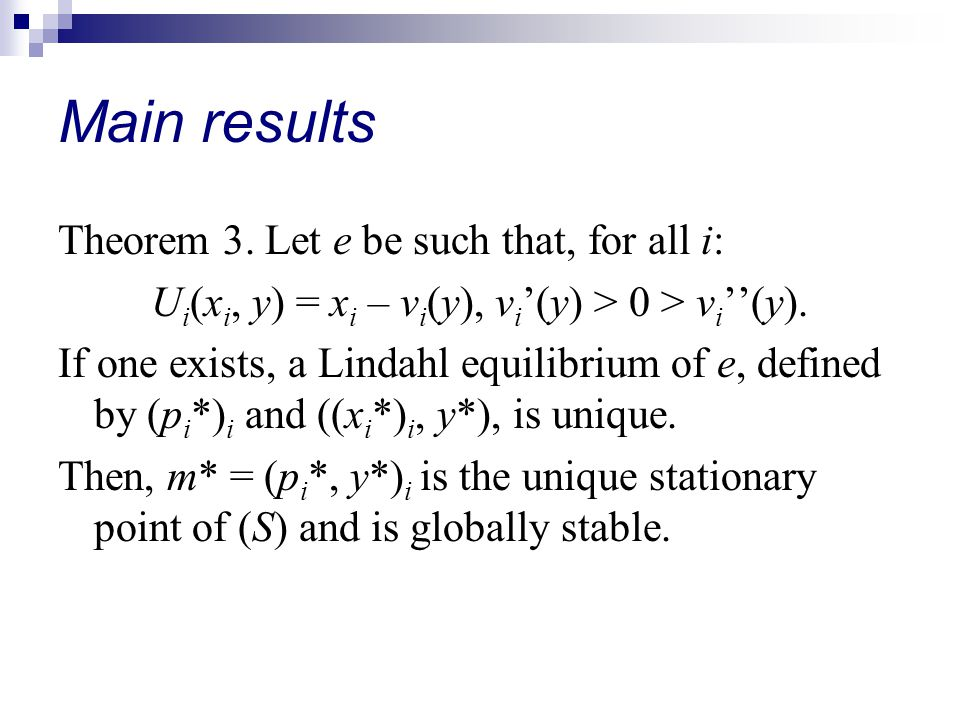 Main results Theorem 3.