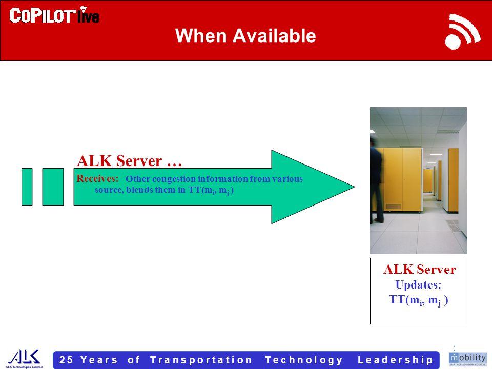 2 5 Y e a r s o f T r a n s p o r t a t i o n T e c h n o l o g y L e a d e r s h i p When Available ALK Server … Receives: Other congestion information from various source, blends them in TT(m i, m j ) ALK Server Updates: TT(m i, m j )