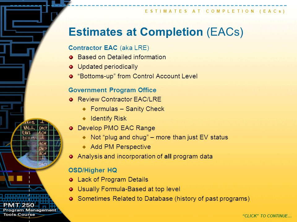 Formula-based EAC Concept Let's begin by explaining the EAC Concept.