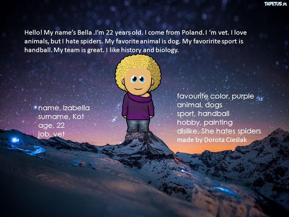 School from Zaborów name, Izabella surname, Kot age, 22 job, vet favourite color, purple animal, dogs sport, handball hobby, painting dislike, She hates spiders made by Dorota Cieślak Hello.