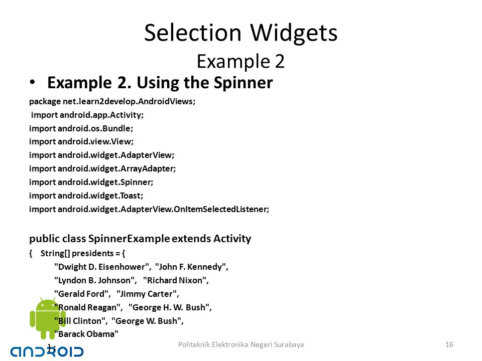 Selection Widgets Example 2 Example 2.