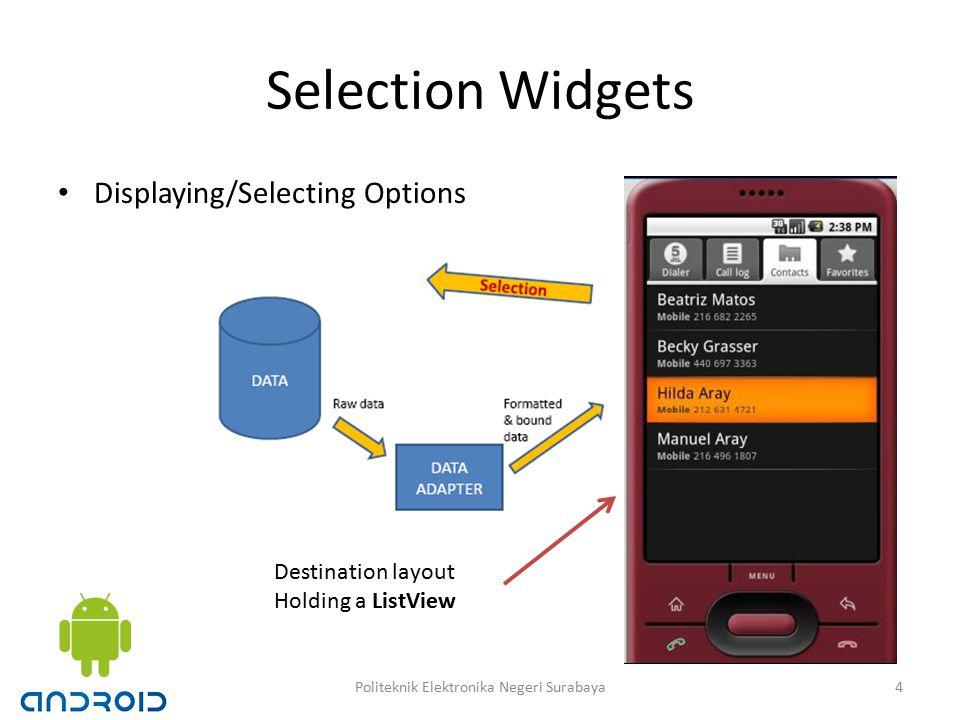 Selection Widgets Displaying/Selecting Options Destination layout Holding a ListView 4Politeknik Elektronika Negeri Surabaya
