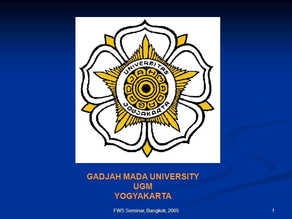 1FWS Seminar, Bangkok, 2005 GADJAH MADA UNIVERSITY UGM YOGYAKARTA