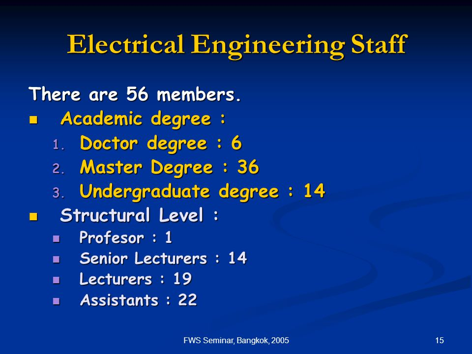 15FWS Seminar, Bangkok, 2005 Electrical Engineering Staff There are 56 members.