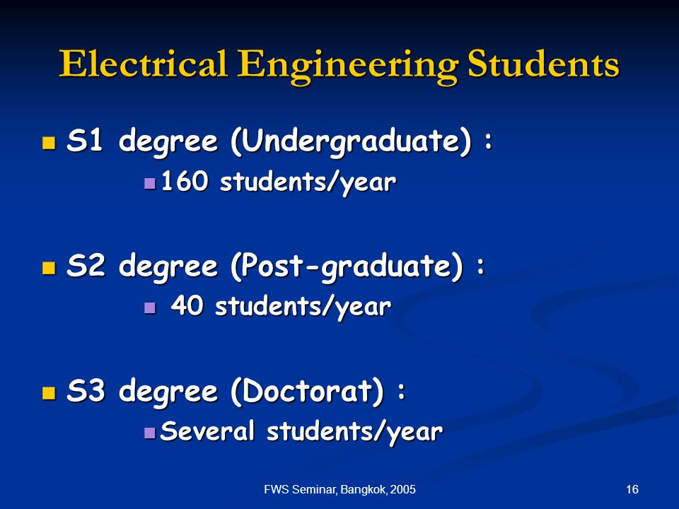 16FWS Seminar, Bangkok, 2005 Electrical Engineering Students S1 degree (Undergraduate) : S1 degree (Undergraduate) : 160 students/year 160 students/ye