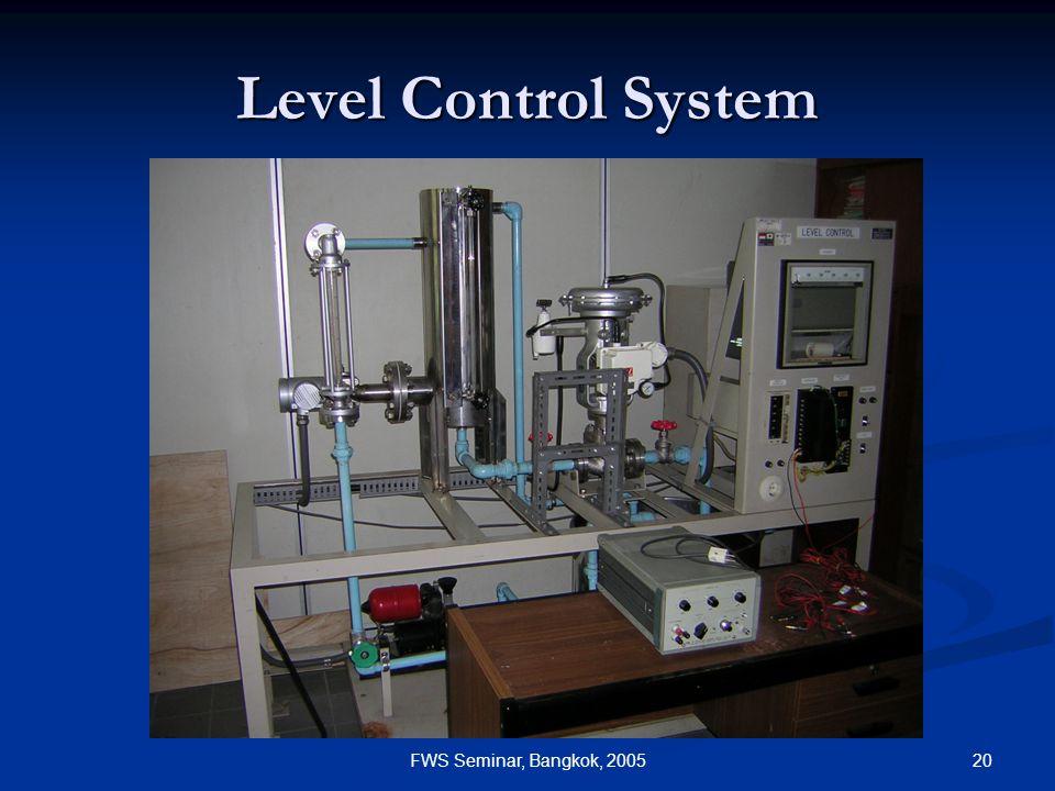 20FWS Seminar, Bangkok, 2005 Level Control System