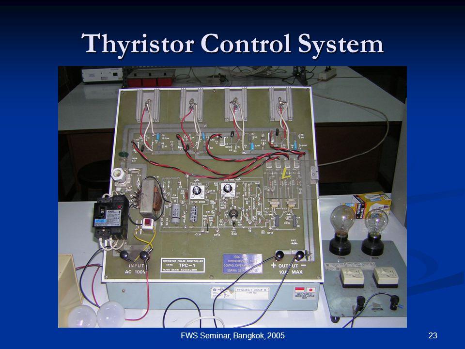 23FWS Seminar, Bangkok, 2005 Thyristor Control System