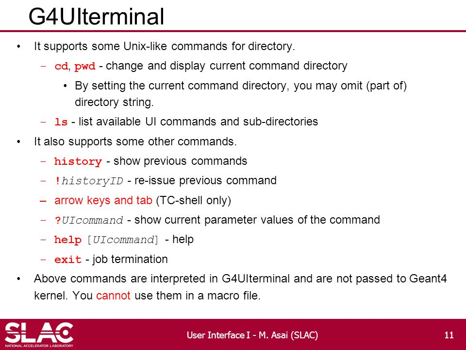 G4UIterminal It supports some Unix-like commands for directory.