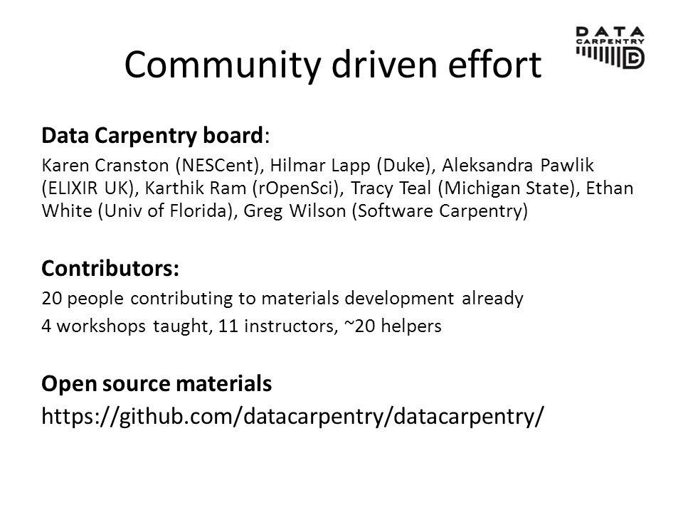 Community driven effort Data Carpentry board: Karen Cranston (NESCent), Hilmar Lapp (Duke), Aleksandra Pawlik (ELIXIR UK), Karthik Ram (rOpenSci), Tracy Teal (Michigan State), Ethan White (Univ of Florida), Greg Wilson (Software Carpentry) Contributors: 20 people contributing to materials development already 4 workshops taught, 11 instructors, ~20 helpers Open source materials https://github.com/datacarpentry/datacarpentry/