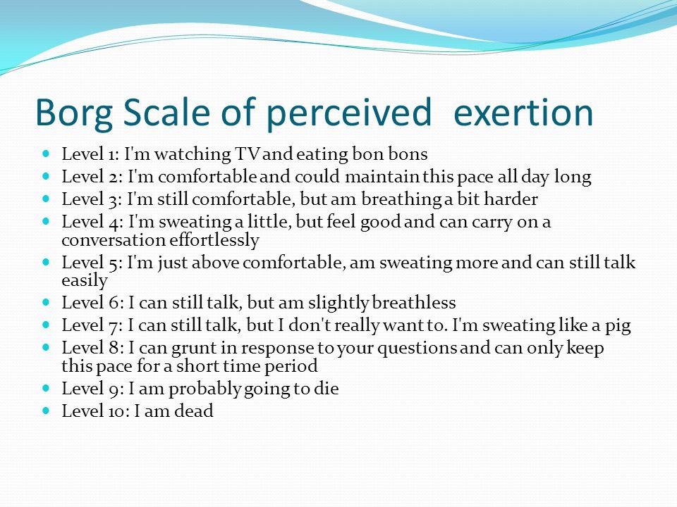 Five 4 minute intervals; 5 Perceived effort; 2 minutes 3/10 : I m still comfortable, but am breathing a bit harder