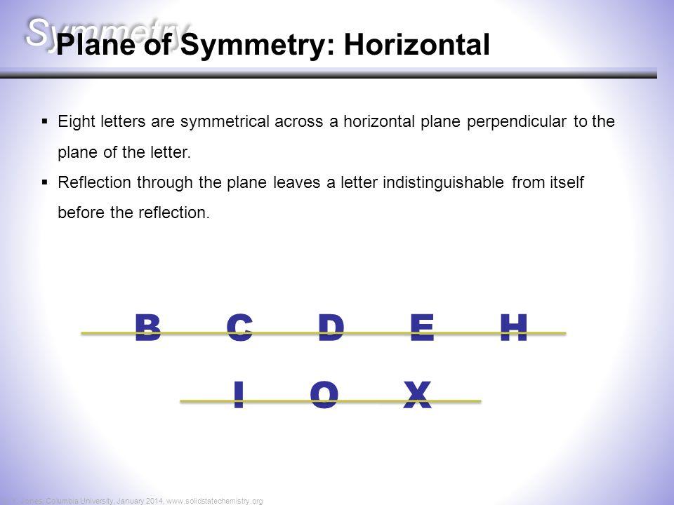 Symmetry B C D E H I O X Plane of Symmetry: Horizontal  Eight letters are symmetrical across a horizontal plane perpendicular to the plane of the let