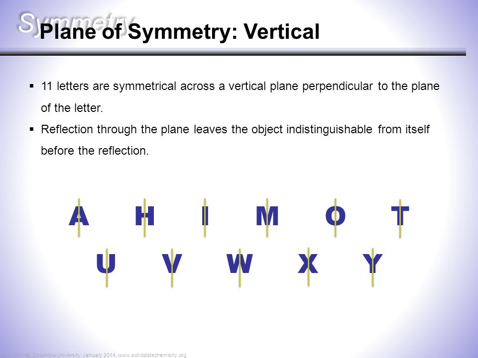 Symmetry A H I M O T U V W X Y Plane of Symmetry: Vertical  11 letters are symmetrical across a vertical plane perpendicular to the plane of the lett