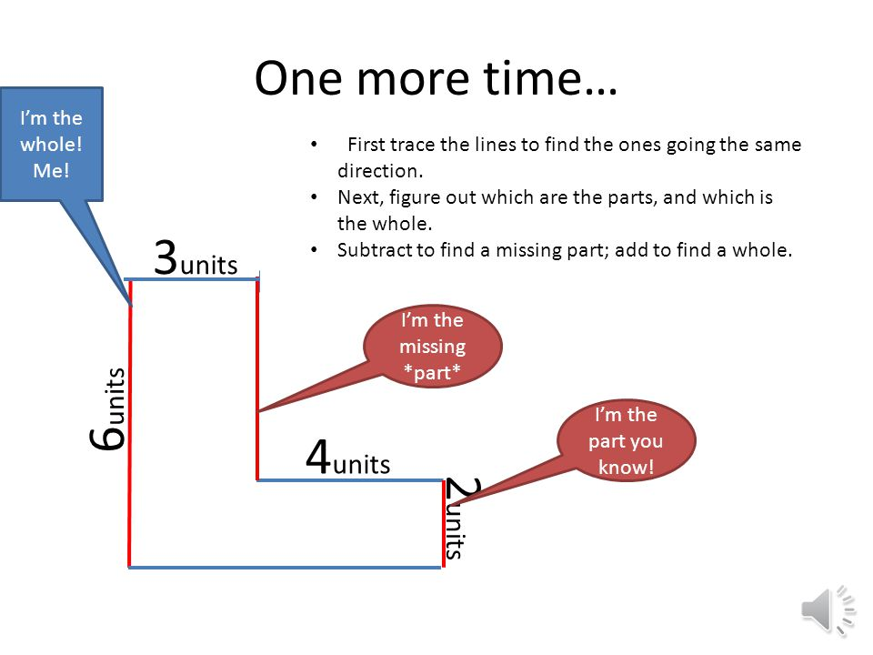 One more time… 6 units 3 units 0 4 units 2 units First trace the lines to find the ones going the same direction.