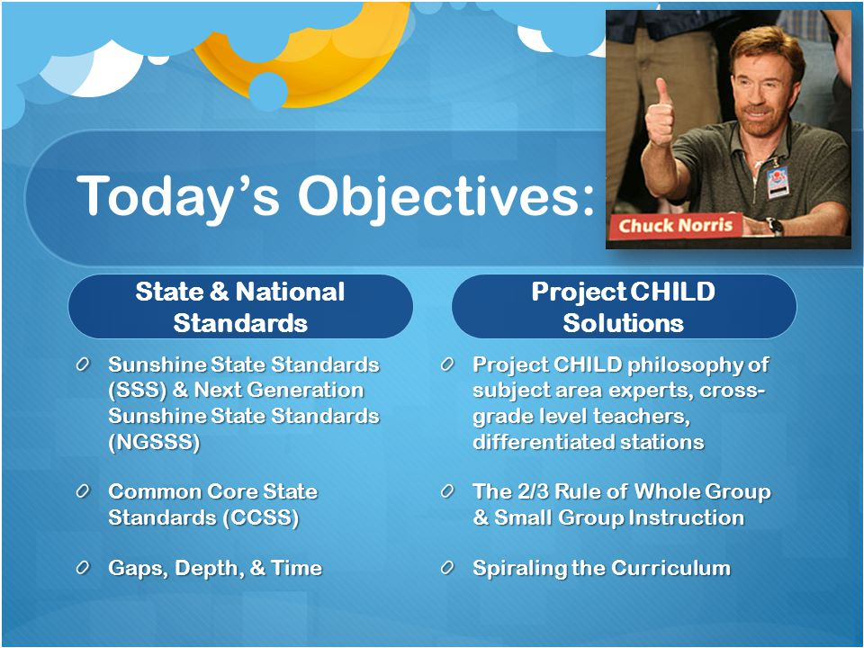 Today's Objectives: State & National Standards Sunshine State Standards (SSS) & Next Generation Sunshine State Standards (NGSSS) Common Core State Standards (CCSS) Gaps, Depth, & Time Project CHILD Solutions Project CHILD philosophy of subject area experts, cross- grade level teachers, differentiated stations The 2/3 Rule of Whole Group & Small Group Instruction Spiraling the Curriculum