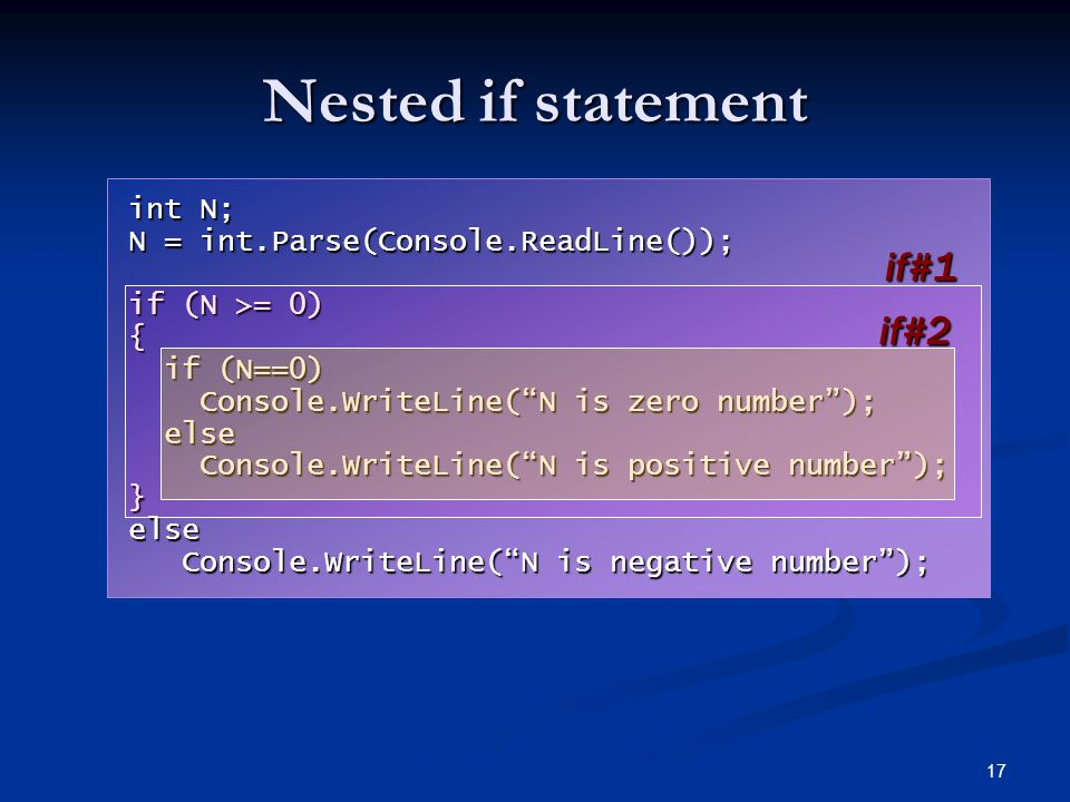 17 Nested if statement int N; N = int.Parse(Console.ReadLine()); if (N >= 0) { if (N==0) if (N==0) Console.WriteLine( N is zero number ); Console.WriteLine( N is zero number ); else else Console.WriteLine( N is positive number ); Console.WriteLine( N is positive number );}else Console.WriteLine( N is negative number ); Console.WriteLine( N is negative number ); if#1 if#2