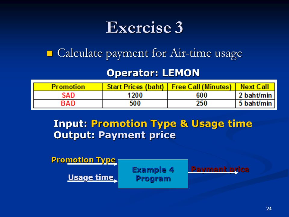 24 Exercise 3 Calculate payment for Air-time usage Calculate payment for Air-time usage Operator: LEMON Input: Promotion Type & Usage time Output: Payment price Example 4 Program Promotion Type Usage time Payment price