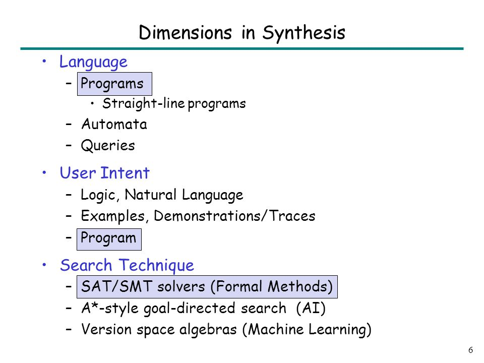 Language –Programs Straight-line programs –Automata –Queries User Intent –Logic, Natural Language –Examples, Demonstrations/Traces –Program Search Technique –SAT/SMT solvers (Formal Methods) –A*-style goal-directed search (AI) –Version space algebras (Machine Learning) 6 Dimensions in Synthesis