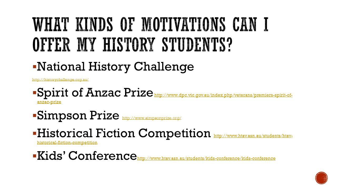  National History Challenge http://historychallenge.org.au/  Spirit of Anzac Prize http://www.dpc.vic.gov.au/index.php/veterans/premiers-spirit-of-