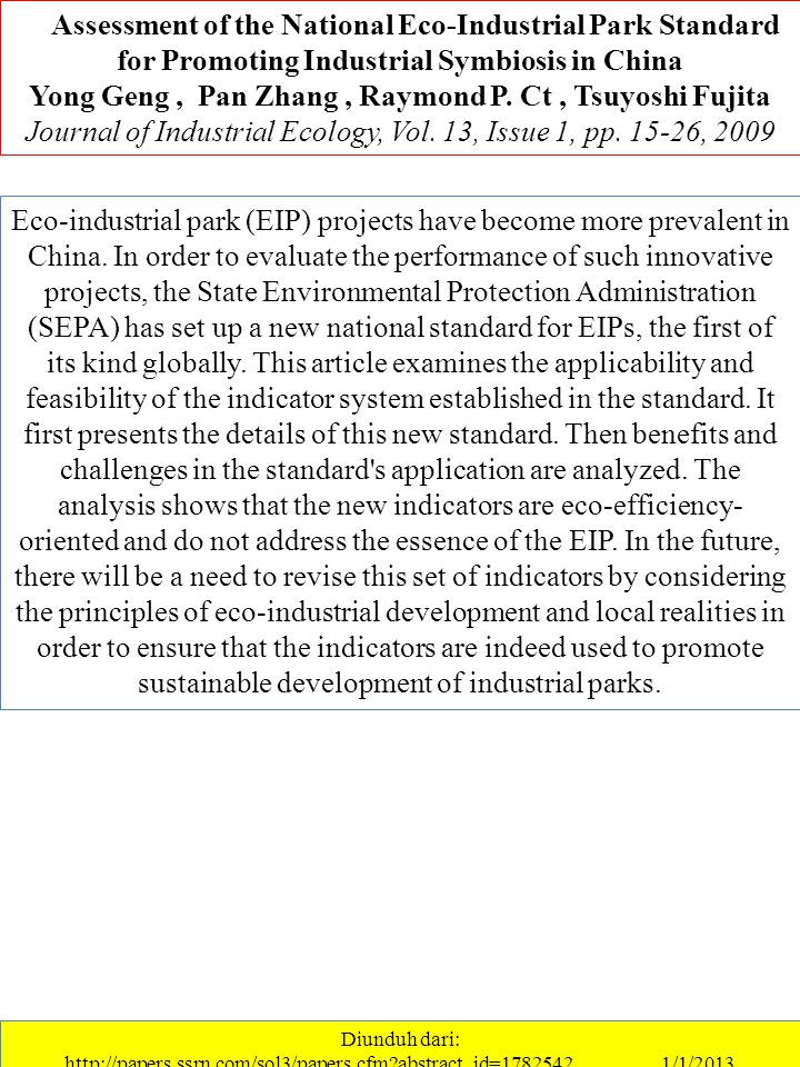 Eco-industrial park (EIP) projects have become more prevalent in China.