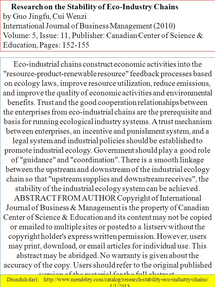 Eco-industrial chains construct economic activities into the resource-product-renewable resource feedback processes based on ecology laws, improve resource utilization, reduce emissions, and improve the quality of economic activities and environmental benefits.