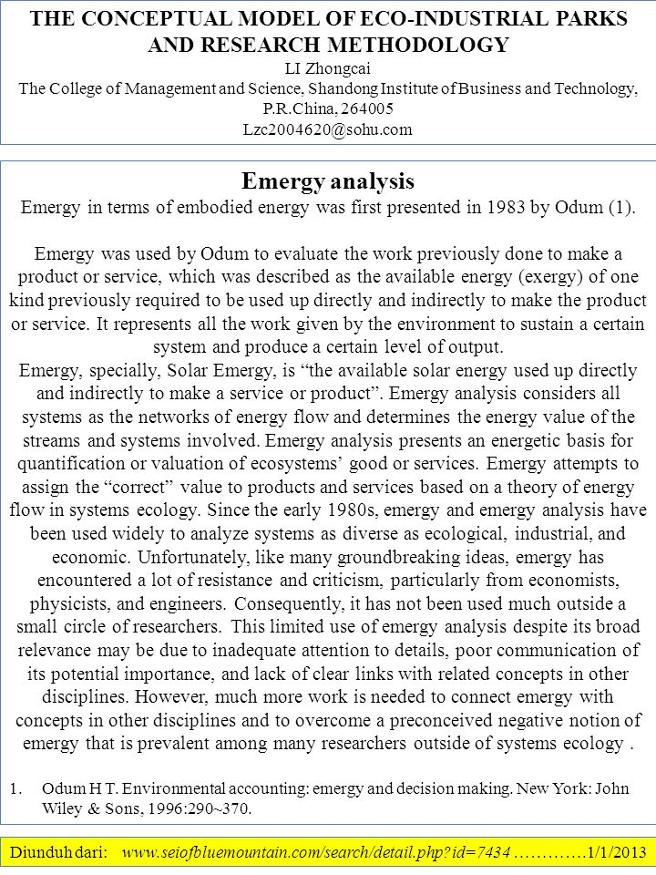 Diunduh dari: www.seiofbluemountain.com/search/detail.php?id=7434 ………….1/1/2013 Emergy analysis Emergy in terms of embodied energy was first presented in 1983 by Odum (1).