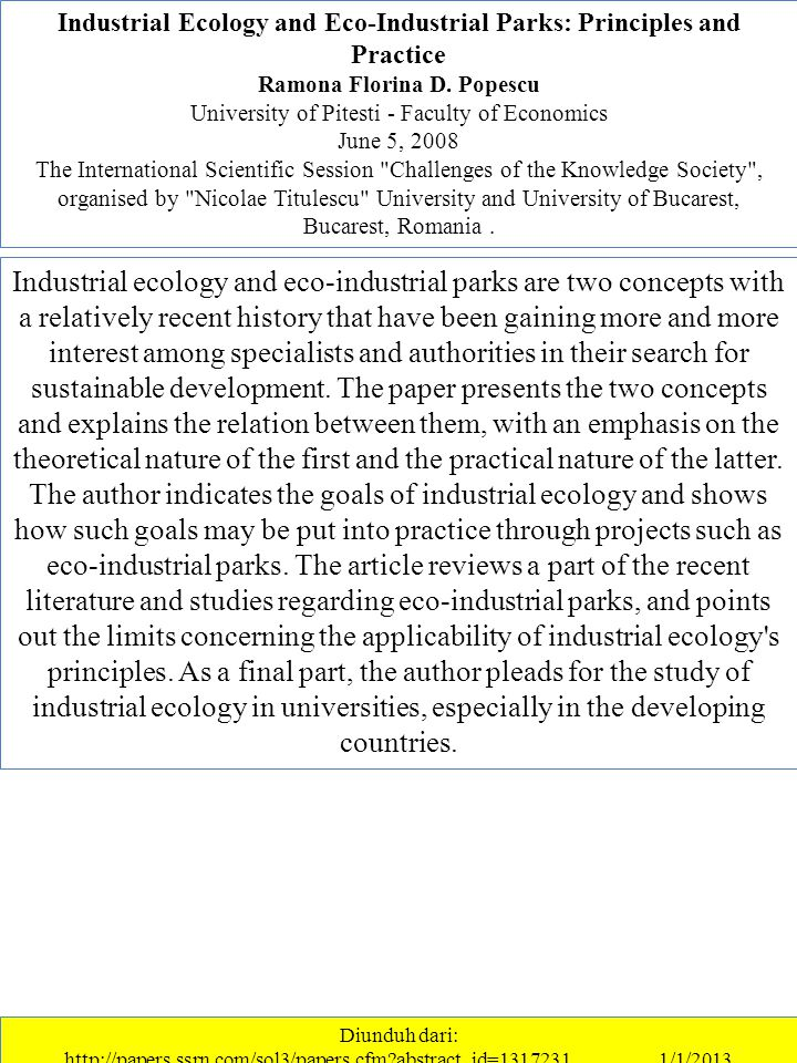 Industrial Ecology and Eco-Industrial Parks: Principles and Practice Ramona Florina D.