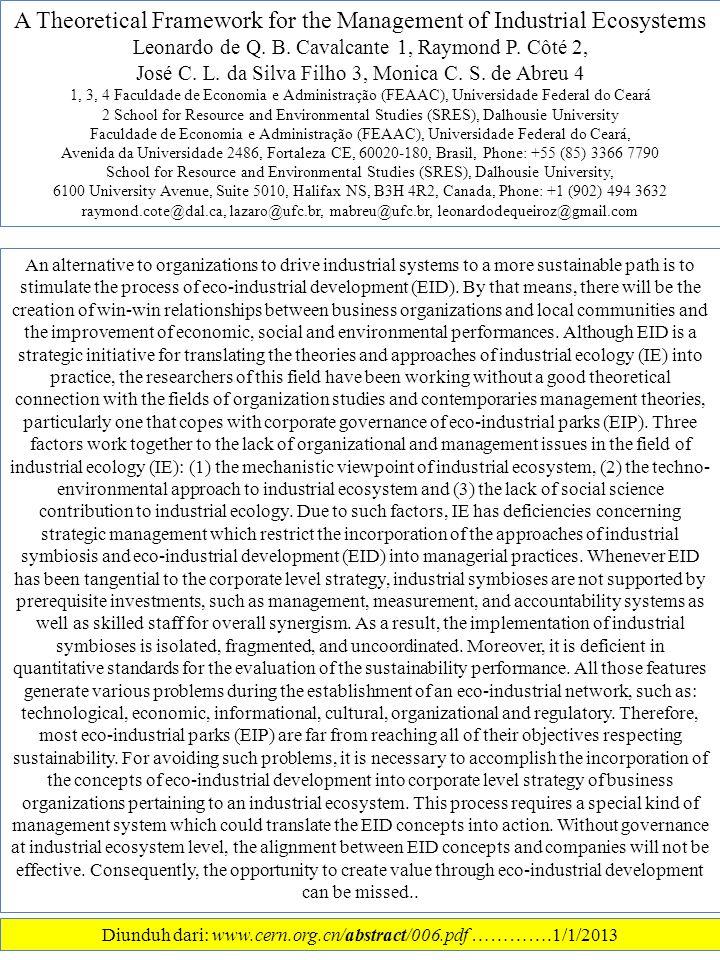 A Theoretical Framework for the Management of Industrial Ecosystems Leonardo de Q.
