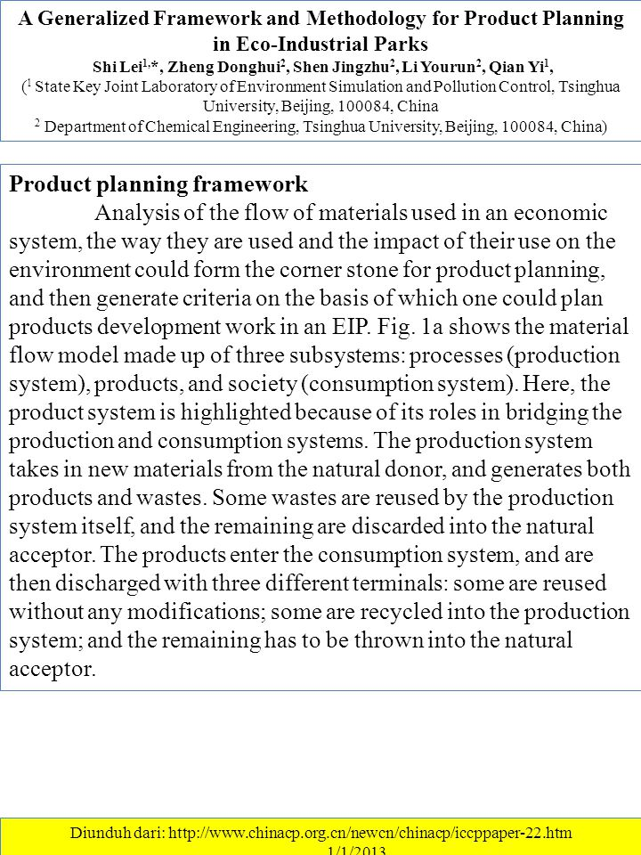 A Generalized Framework and Methodology for Product Planning in Eco-Industrial Parks Shi Lei 1, *, Zheng Donghui 2, Shen Jingzhu 2, Li Yourun 2, Qian Yi 1, ( 1 State Key Joint Laboratory of Environment Simulation and Pollution Control, Tsinghua University, Beijing, 100084, China 2 Department of Chemical Engineering, Tsinghua University, Beijing, 100084, China) Diunduh dari: http://www.chinacp.org.cn/newcn/chinacp/iccppaper-22.htm ………….1/1/2013 Product planning framework Analysis of the flow of materials used in an economic system, the way they are used and the impact of their use on the environment could form the corner stone for product planning, and then generate criteria on the basis of which one could plan products development work in an EIP.