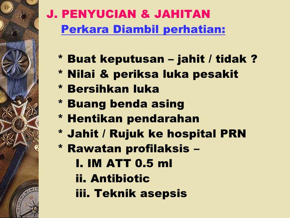 v. Agent Haemostatik setempat: i. Haemostat daripada selulos ii. Kolagen fibrilari iii. Gelatin sponge dgn thrombin iv. Bone wax