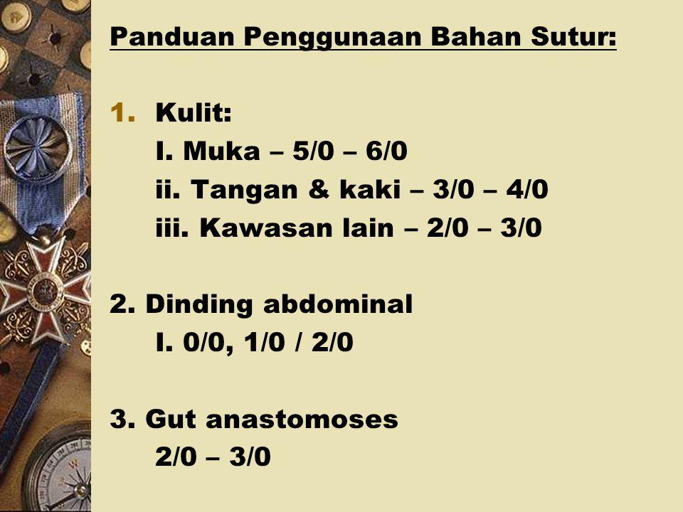 Kategori Bahan Sutur: 1.Absorbable: i. Plain catgut – 3 – 5 hari ii. Chromic catgut – 3 – 5 hari iii. Polyglycolic acid – 10 days iv. Polyglactin – 6