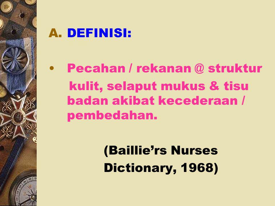  OBJEKTIF: 1. DEFINISI 2. FAKTOR PENYEBAB 3. KLASIFIKASI / JENIS 4. FUNDAMENTAL PENYEMBUHAN 5. KAEDAH PENYEMBUHAN 6. FAKTOR MEMPENGARUHI PENYEMBUHAN