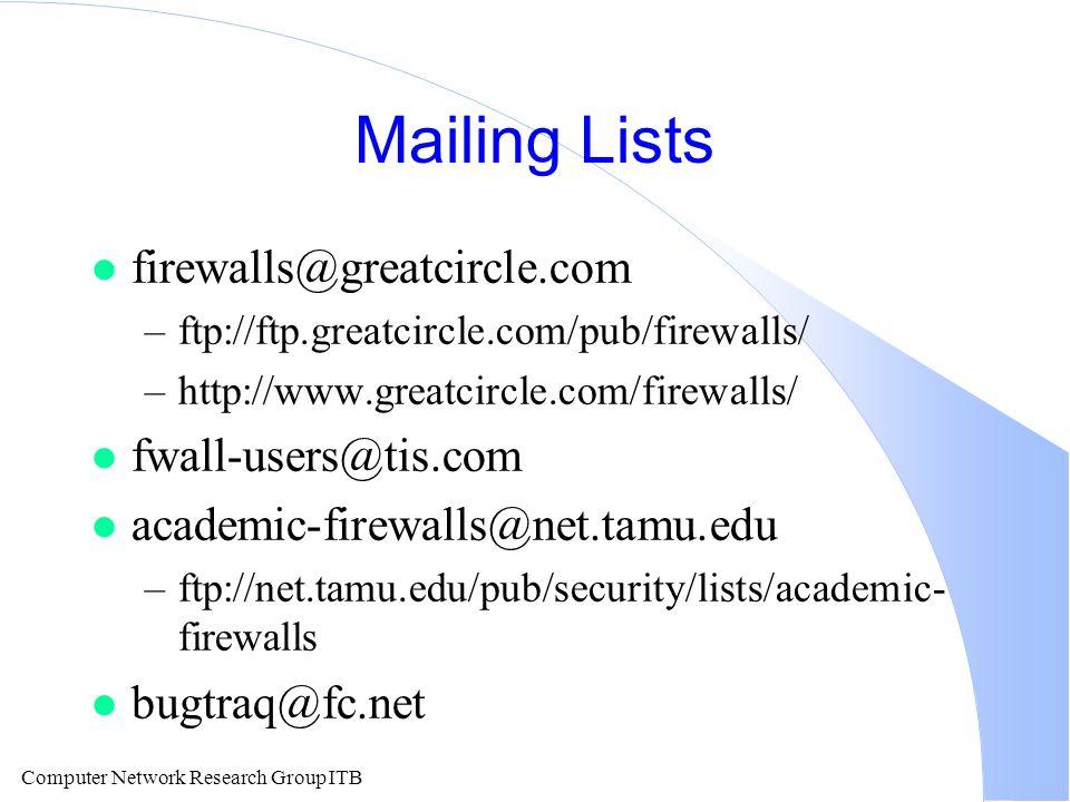 Computer Network Research Group ITB Mailing Lists l firewalls@greatcircle.com –ftp://ftp.greatcircle.com/pub/firewalls/ –http://www.greatcircle.com/firewalls/ l fwall-users@tis.com l academic-firewalls@net.tamu.edu –ftp://net.tamu.edu/pub/security/lists/academic- firewalls l bugtraq@fc.net